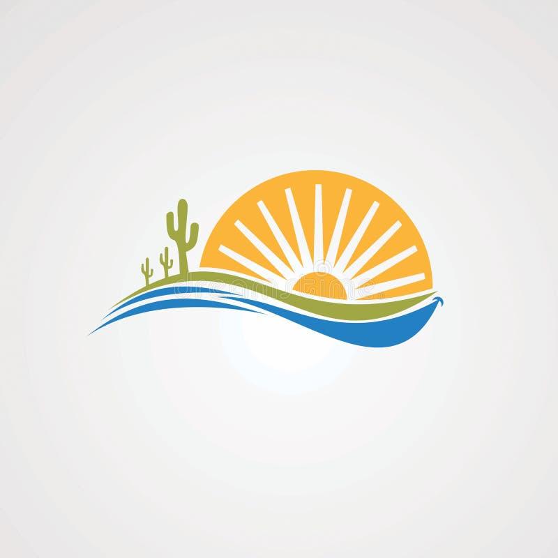 Sole di sorriso con il cactus e concetto di vettore di logo dell'onda, icona, elemento e modello per l'affare illustrazione vettoriale
