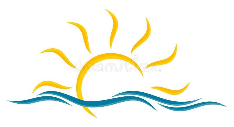 Sole e mare di logo illustrazione vettoriale. Illustrazione di nave -  90860975