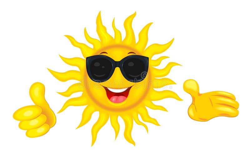 Sole felice in occhiali da sole illustrazione vettoriale