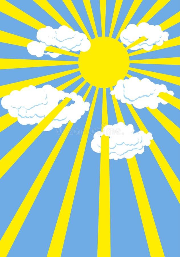 Sole giallo di estate Cielo blu Raggi del Sun attraverso le nuvole bianche illustrazione vettoriale