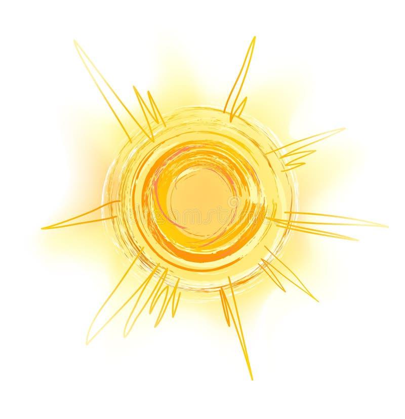 Sole giallo dissipante con i raggi - abbozzo illustrazione di stock