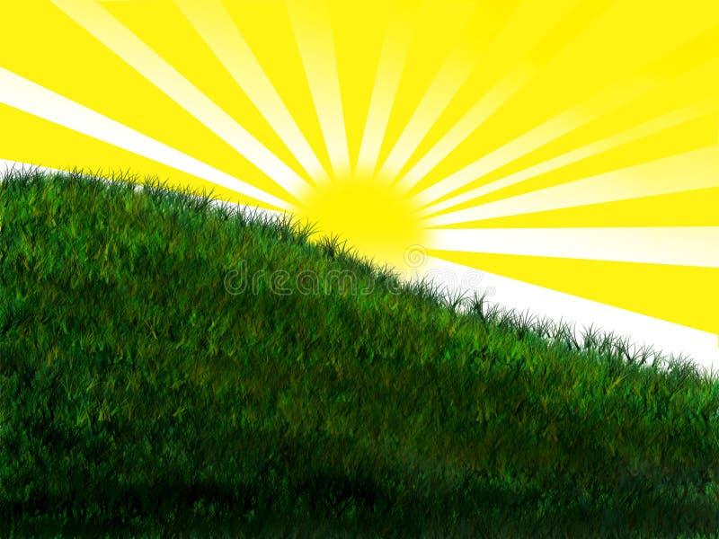 Sole luminoso sulla collina erbosa royalty illustrazione gratis
