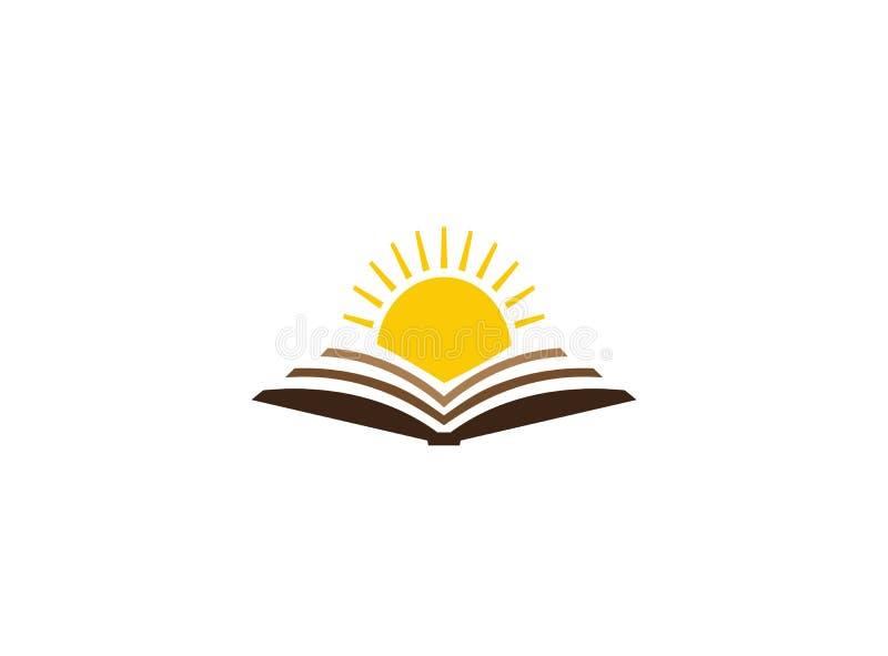 Sole luminoso in un libro aperto per l'illustrazione di progettazione di logo royalty illustrazione gratis