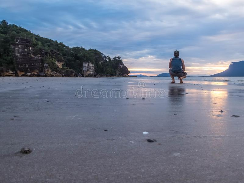 Malaysia - Boy at the beach royalty free stock photography