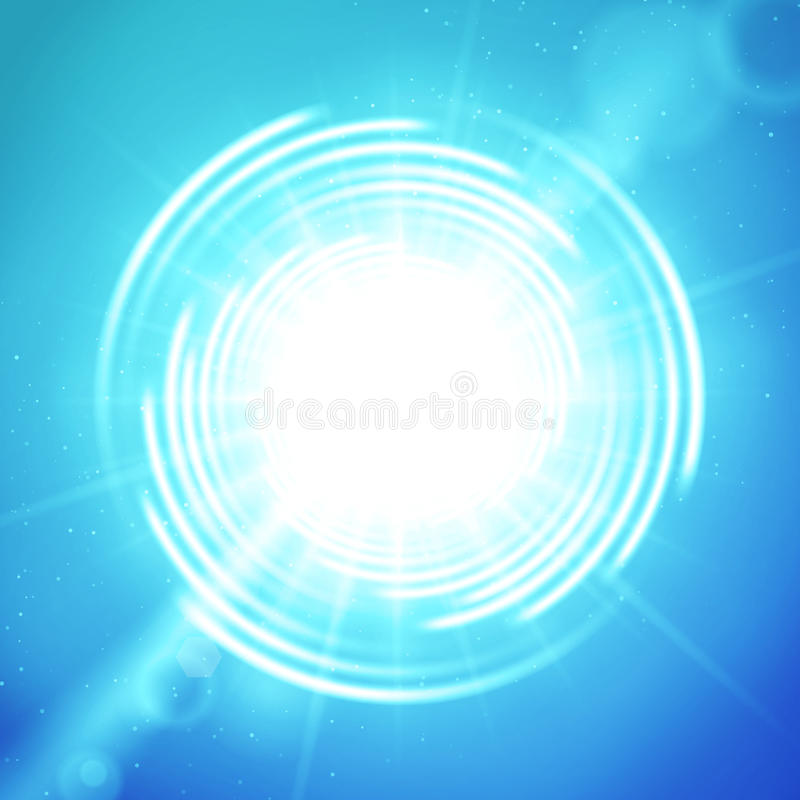 Sole o portale brillante sul fondo blu di vettore royalty illustrazione gratis