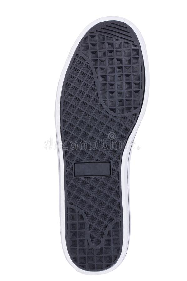 Sole of sport tracking shoes snickers individual design close up isolated one. Black and white stock photos