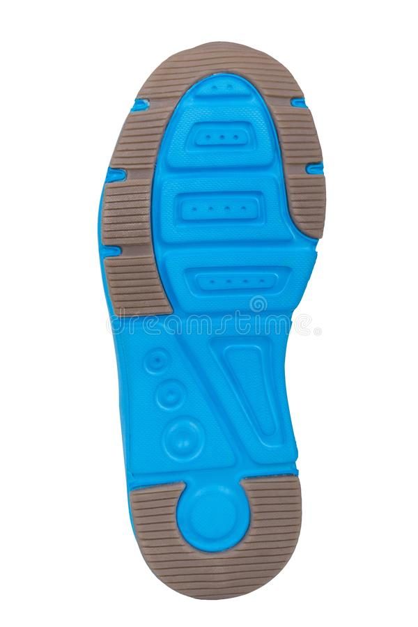 Sole of sport tracking shoes snickers individual design close up isolated one. Stylish bright blue and grey pattern royalty free stock photography