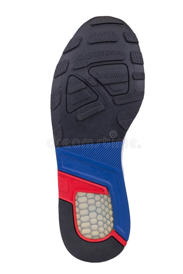 Sole of sport tracking shoes snickers individual design close up isolated one royalty free stock photos