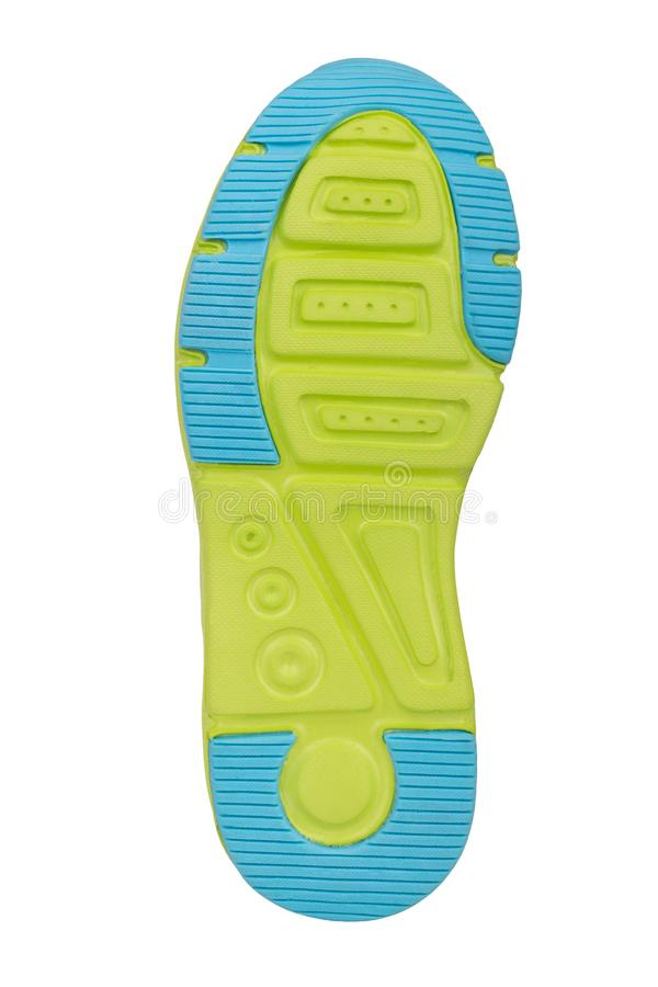 Sole of sport tracking shoes snickers individual design close up isolated one royalty free stock photography