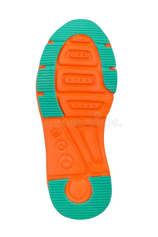Sole of sport tracking shoes snickers individual design close up isolated one stock photo