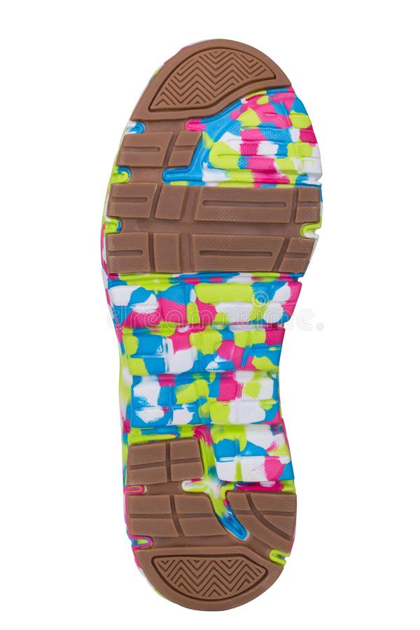 Sole of sport tracking shoes snickers individual design close up isolated one stock image