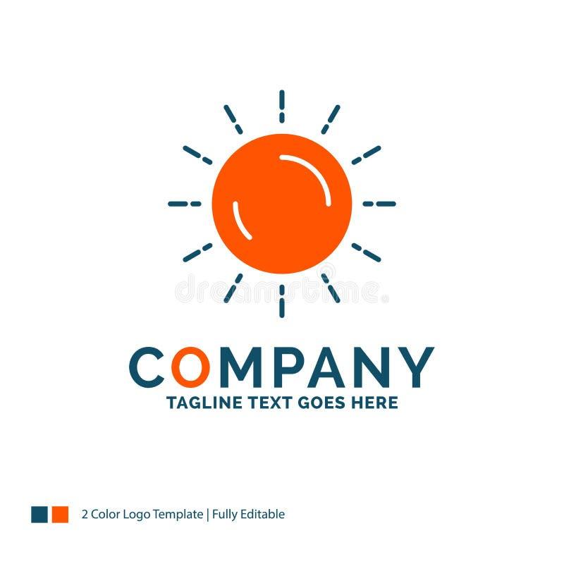 sole, tempo, tramonto, alba, estate Logo Design Blu ed Oran immagine stock