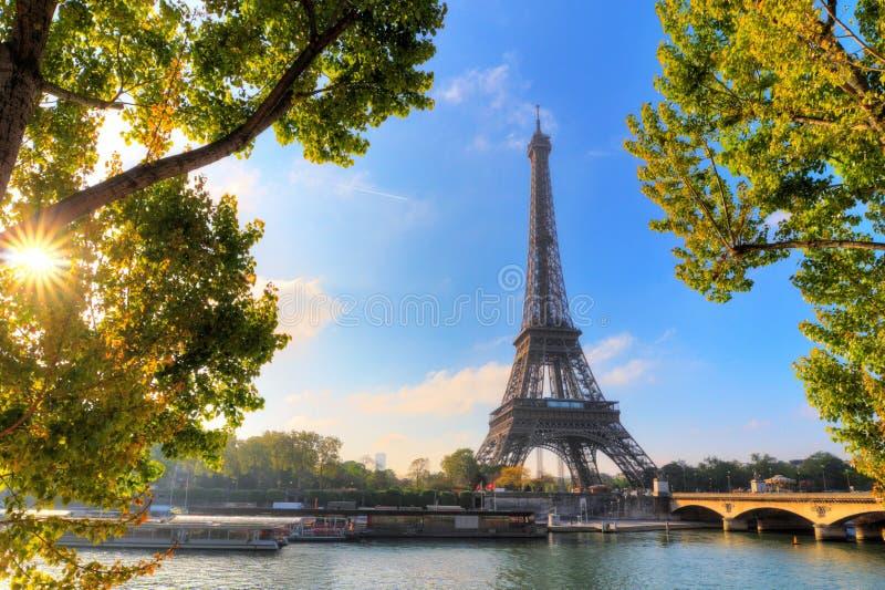 Sole verde Eiffel immagine stock libera da diritti