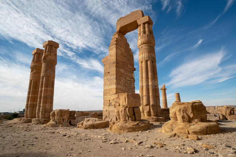 Egyptian Soleb Temple in the Nubian area of the Sudan. Soleb temple seen in the early morning of a sunny day stock images