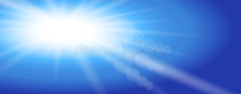 Soleil de ciel Conception d'illustration de vecteur Les rayons l?gers de Sun ont ?clat? le ciel bleu Conception plate Fond illustration stock