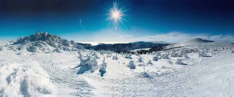 Soleil de panorama de l'hiver photos libres de droits