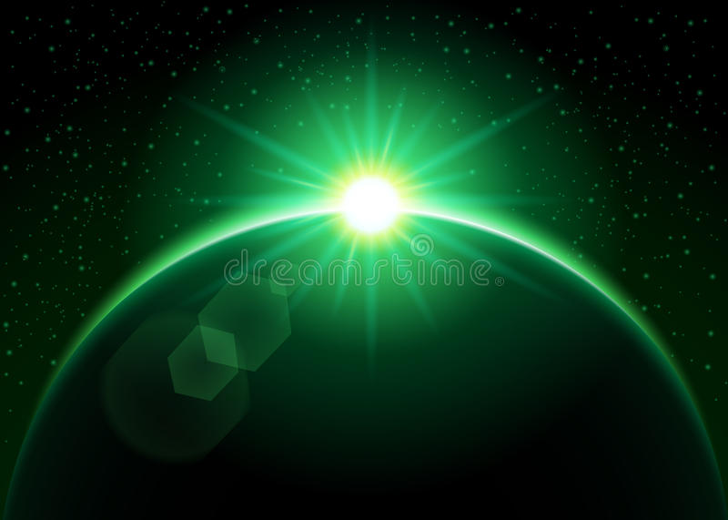 Soleil Levant derrière la planète - vert illustration de vecteur