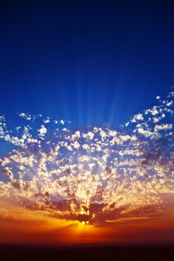Download Solemn Grandiose Sunset On Coast Stock Image - Image of sunbeam, orange: 7431895