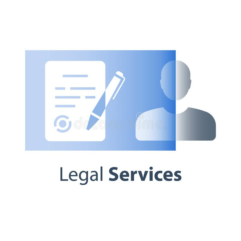 Solemn written declaration, legal contract terms and conditions, judicial document, letter of attorney, ownership registration. Legal services, contract terms stock illustration