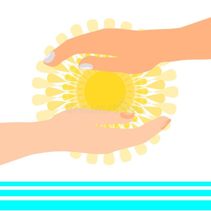 Solen i händer nära bevattnar royaltyfria bilder