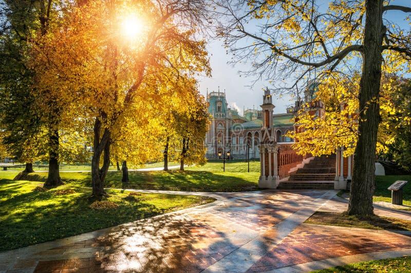 Solen i Tsaritsyno parkerar fotografering för bildbyråer