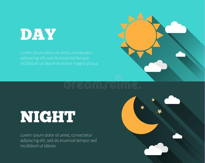 Solen måne och stjärnor, fördunklar symboler Dygnet runt himmelvektorbann vektor illustrationer