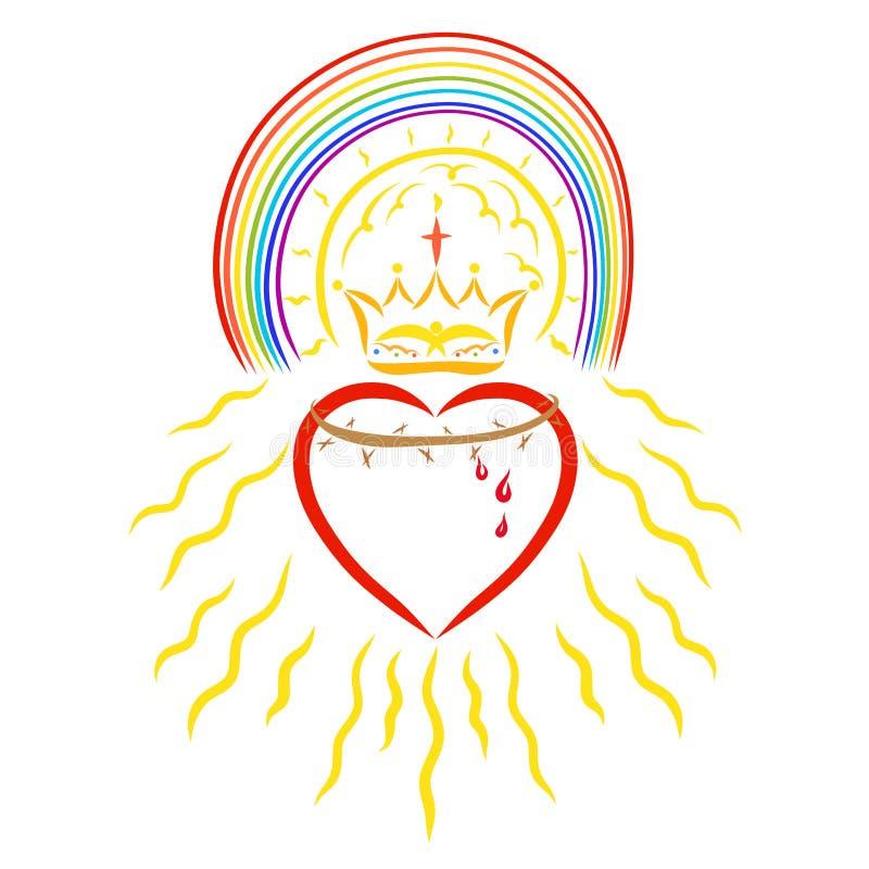 Solen och en regnbåge ovanför hjärtan med en krona av taggar och vektor illustrationer