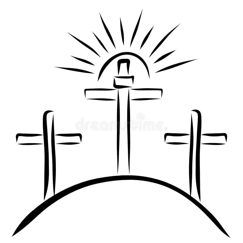 Solen ovanför korset, Golgotha royaltyfri illustrationer