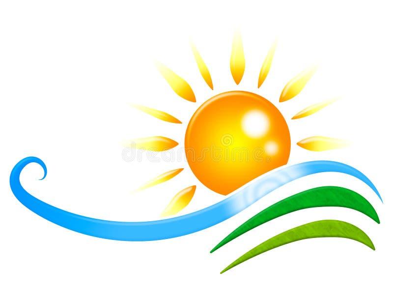 Solen Rays showstrålglansvågen och design royaltyfri illustrationer