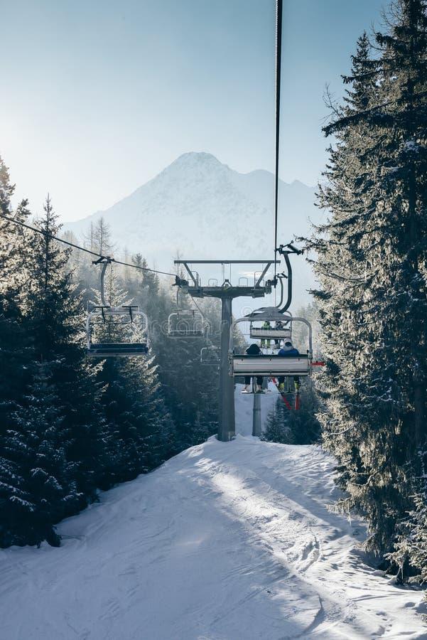 Solen sörjer igenom träd, som chairliftstigningen på italienare skidar område som täckas i snö arkivbilder