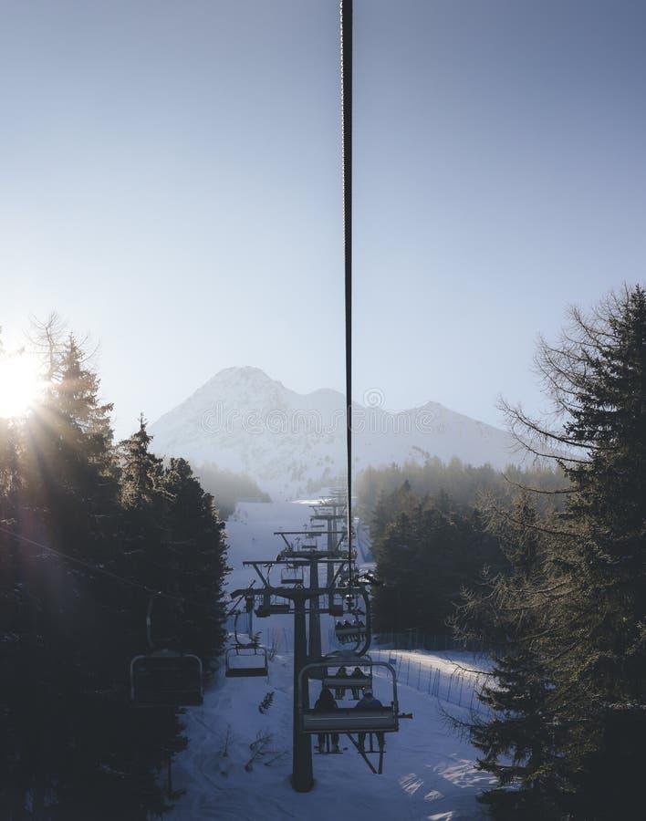 Solen sörjer igenom träd, som chairliftstigningen på italienare skidar område som täckas i snö arkivbild