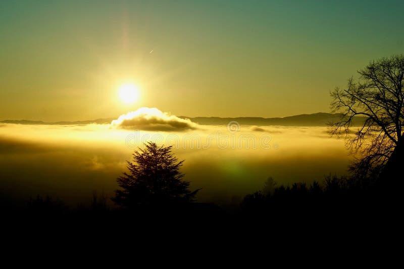 Solen skiner över ett hav av moln arkivbilder