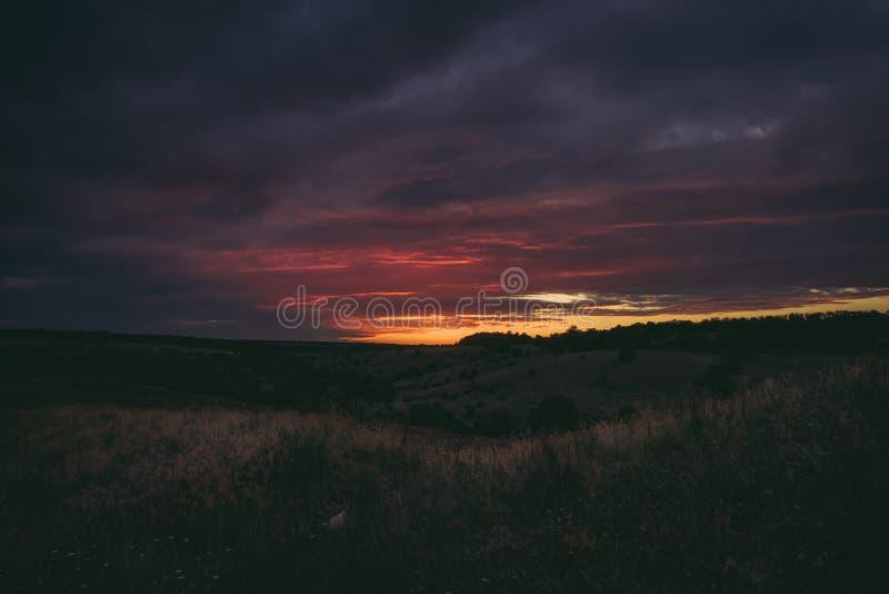 Solen ställer in över blasten av skogträd i moln Det panorama- fotoet av lilor, apelsinen och mörker fördunklar i himlen arkivbild