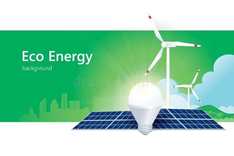 Solenergi och vindenergi royaltyfri illustrationer