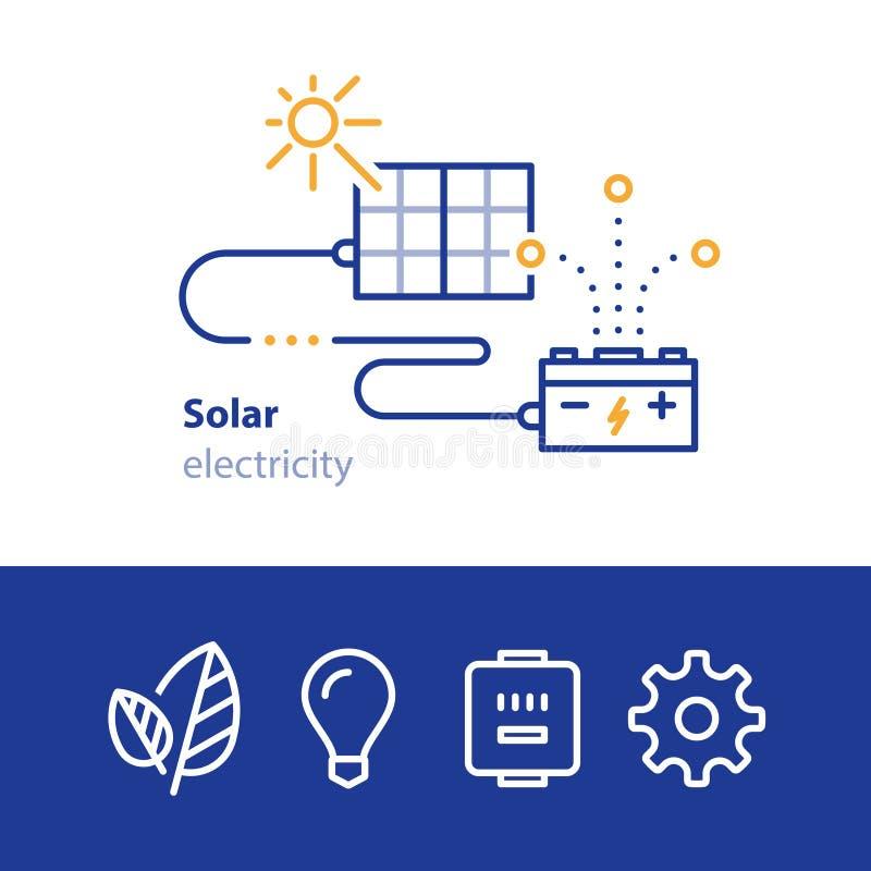 Solenergi, paneler och ackumulator, sol- elektricitetssymboler stock illustrationer