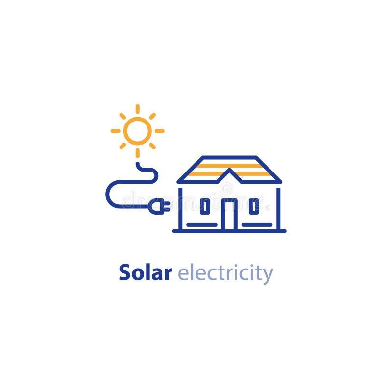 Solenergi, sol- hem- lösning, elektricitetsservicelinje symbol stock illustrationer