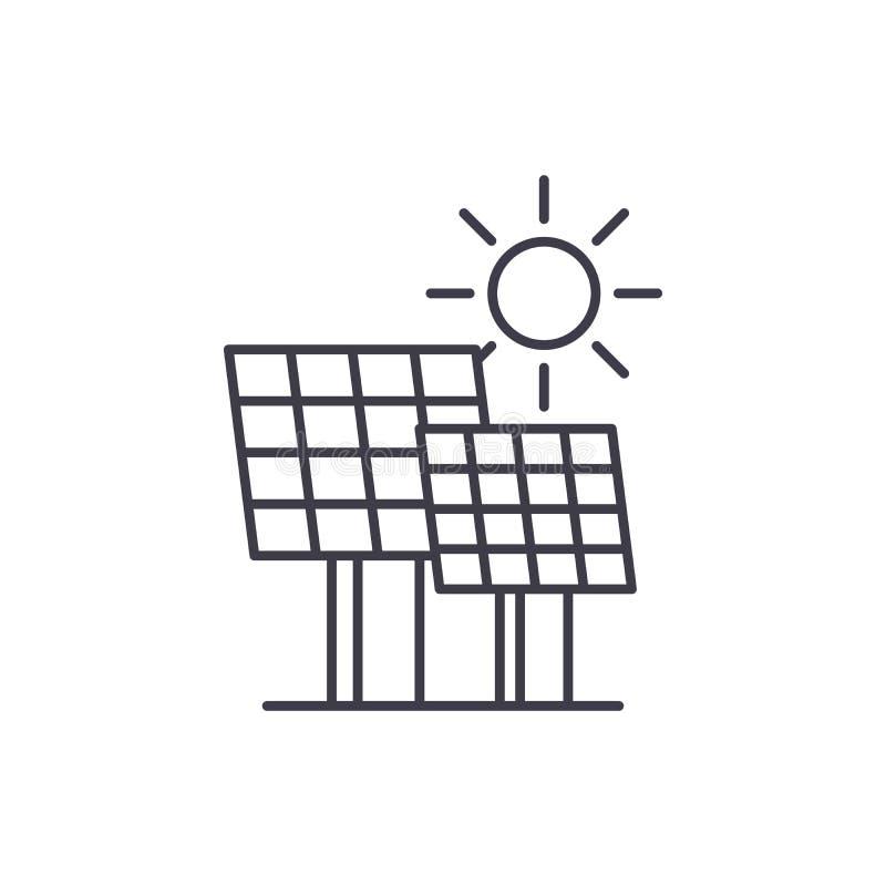 Solenergilinje symbolsbegrepp Linjär illustration för solenergivektor, symbol, tecken stock illustrationer