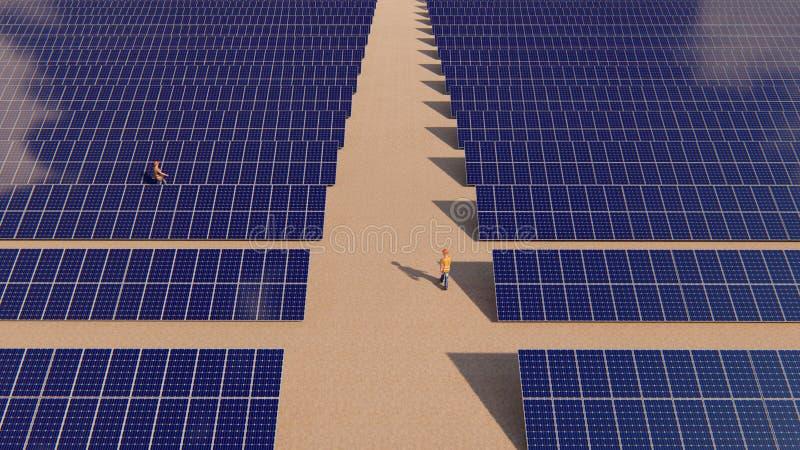 Solenergiväxt och arbetare som två omkring går royaltyfri foto