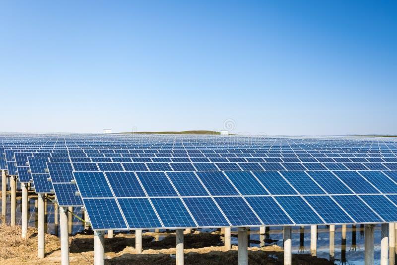 Solenergiväxt under den blåa himlen royaltyfri foto