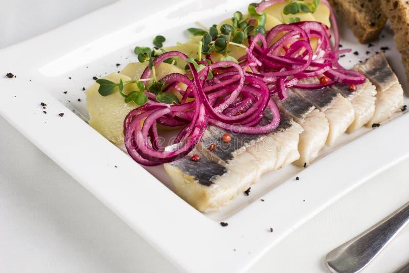 Soleni rybi śledzi plasterki z gotowanymi grulami i cebulami fotografia stock