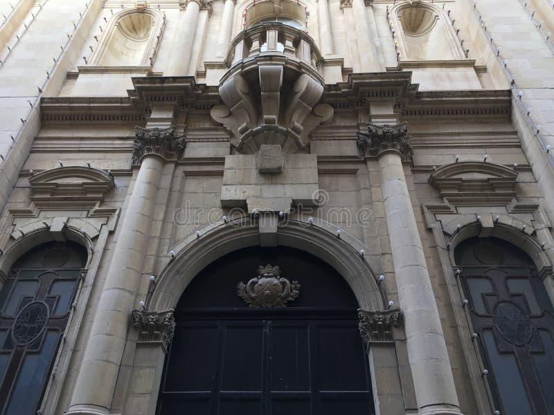 Solenna Wejściowa fasada Brytyjska Kolonialna architektura zdjęcia stock