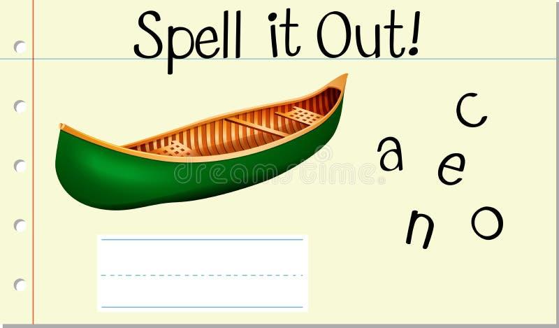 Soletre-o canoe para fora ilustração do vetor