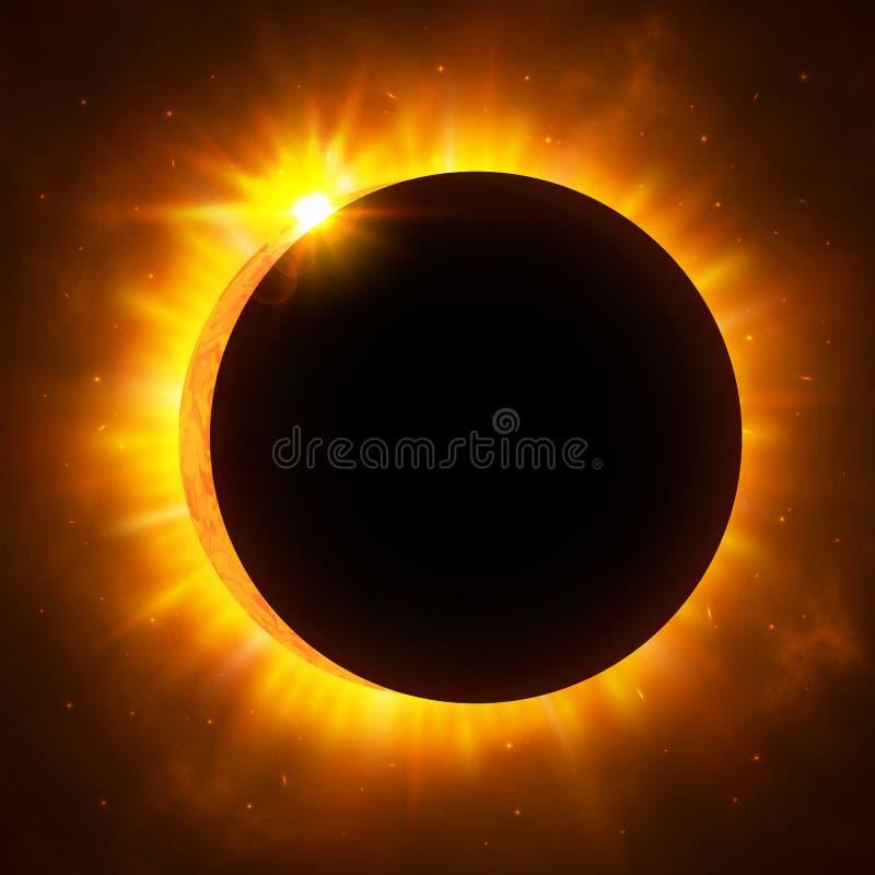 Solförmörkelse med krans sol- illustration för förmörkelse för bakgrundsblackdesign Ljust rött stjärnaljussken från kanterna av e stock illustrationer