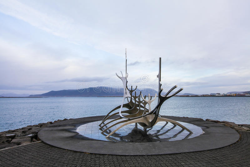 Solfar, słońca voyager sculpter w Reykjavik w Iceland obraz royalty free