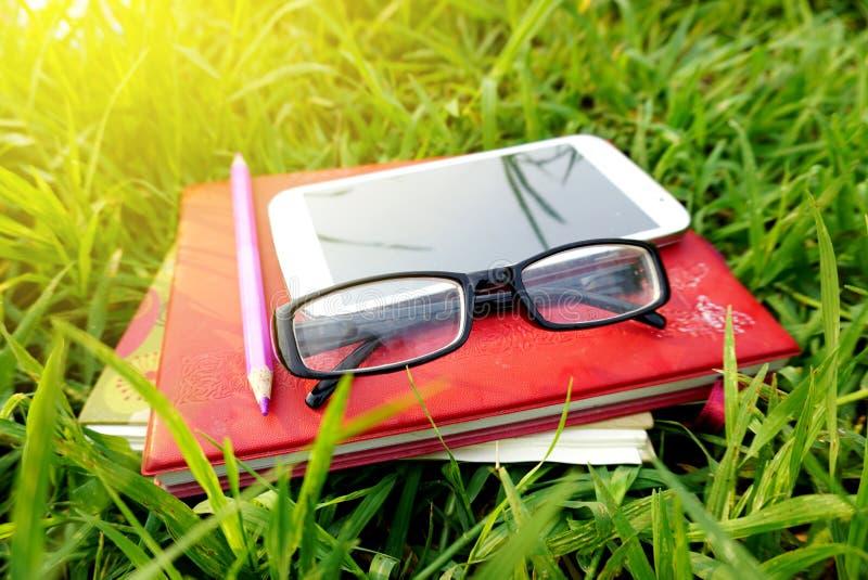 Solglasögon anteckningsbok, blyertspenna, smart telefon, bok på fält av bakgrund för grönt gräs royaltyfri bild