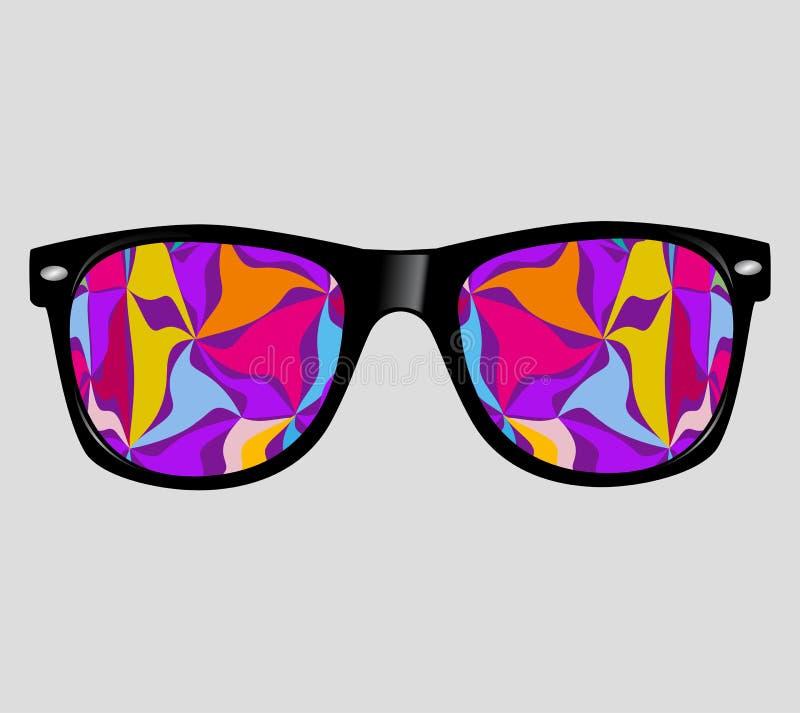 Solglasögon med abstrakt stil för Hipster för vektorillustrationbakgrund stock illustrationer