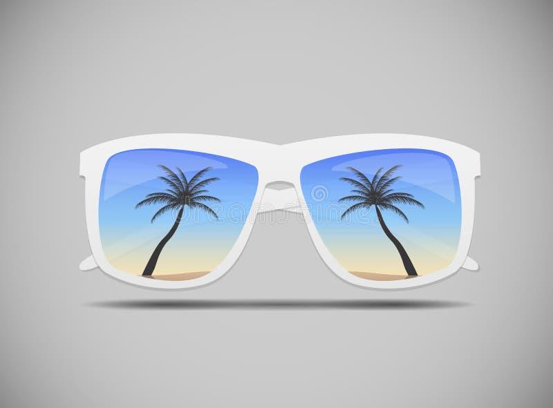 Solglasögon med en palmträdvektorillustration vektor illustrationer