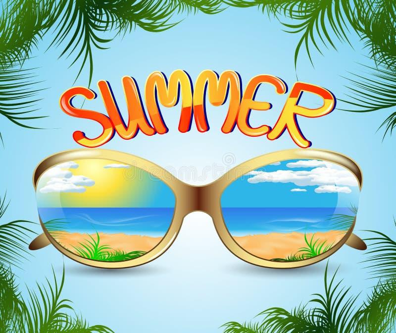 Solglasögon med reflexionen av sommaren stock illustrationer