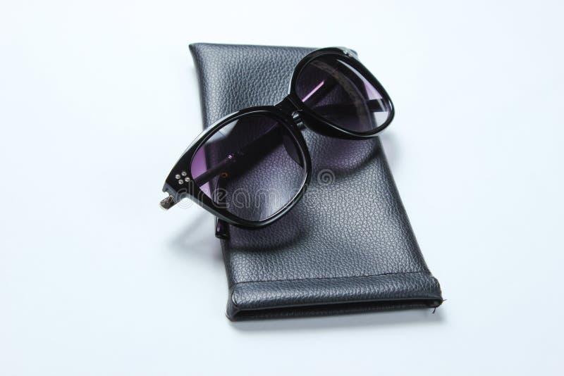 Solglasögon med skyddande piskar fallet arkivbild