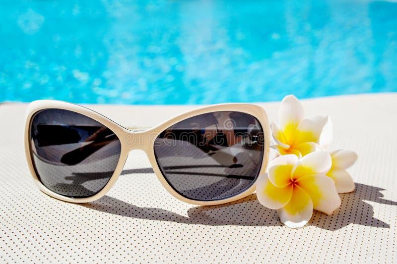 Solglasögon och plumeria blommar nära pölen arkivfoto